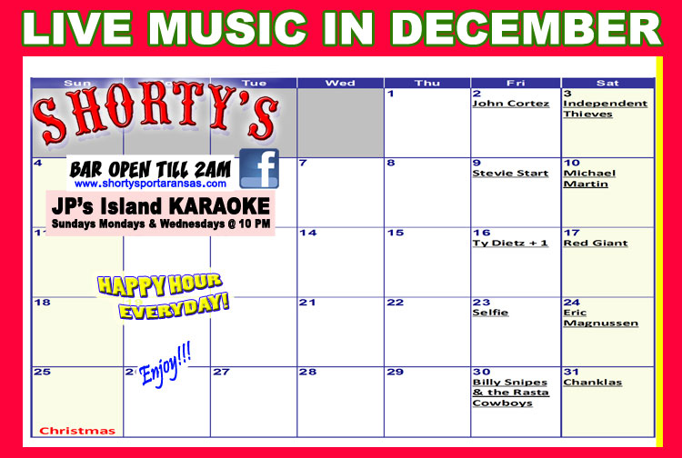 Live Music every weekend at Shorty's in Port Aransas, Texas.